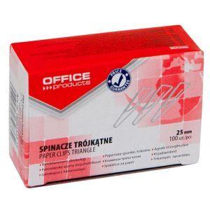 Spinacze trójkątne OFFICE PRODUCTS, 25mm, 100szt., srebrne
