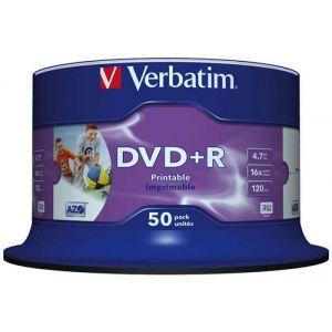 Płyta DVD+R VERBATIM AZO, 4,7GB, prędkość 16x, cake, 50szt., do nadruku