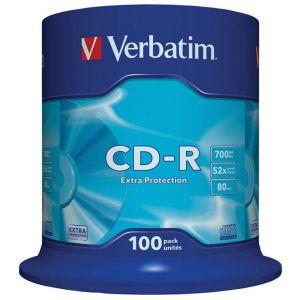 Płyta CD-R VERBATIM, 700MB, prędkość 52x, cake, 100szt., ekstra ochrona