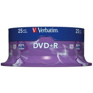 Płyta DVD+R VERBATIM AZO, 4,7GB, prędkość 16x, cake, 25szt., srebrny mat