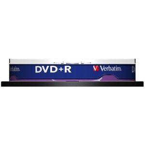 Płyta DVD+R VERBATIM AZO, 4,7GB, prędkość 16x, cake, 10szt., srebrny mat