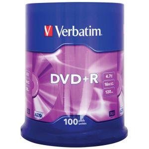 Płyta DVD+R VERBATIM AZO, 4,7GB, prędkość 16x, cake, 100szt., srebrny mat
