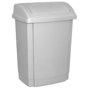 Kosz na śmieci z pokrywą OFFICE PRODUCTS, tworzywo, 15l, szary