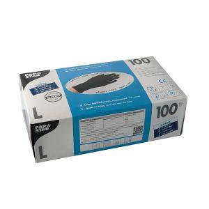 Rękawiczki lateks czarne op100szt L bezpudrowe PAPSTAR  jakość jak nitryle (k/10)