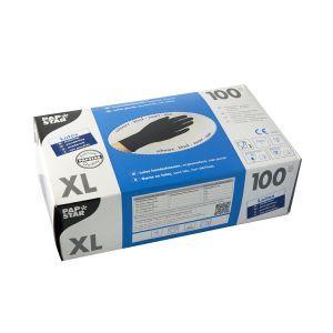 Rękawiczki lateks czarne op100szt XL bezpudrowe PAPSTAR  jakość jak nitryle (k/10)