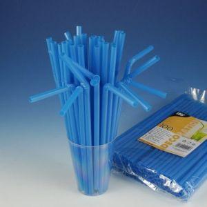 Słomki łamane Ø 8 mm, 25 cm niebieskie, cena za opakowanie 100szt