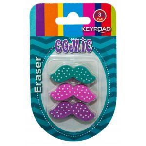 Universal eraser, KEYROAD Moustache, 3 pcs, blister, assorted colours