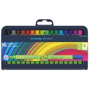 Fineliner SCHNEIDER Link-It, 0.4mm, case-stand for pens, 16 pcs, assorted colours