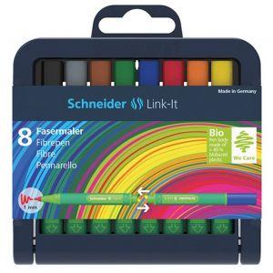 Flamaster SCHNEIDER Link-It, 1,0mm, stojak - podstawka, 8szt. mix kolorów