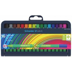 Flamaster SCHNEIDER Link-It, 1,0mm, stojak - podstawka, 16szt. mix kolorów
