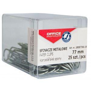 Spinacze metalowe OFFICE PRODUCTS, 77mm, w pudełku, 25szt., srebrne