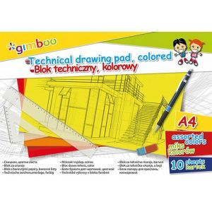 Blok techniczny GIMBOO, A4, 10 kart., 150gsm, mix kolorów