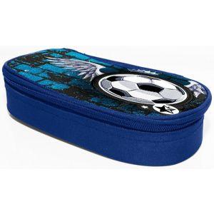 Piórnik-kosmetyczka DONAU Soccer Style, bez wyposażenia, owalny, 20x7,4x4cm, niebieski