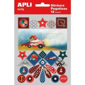 Etykiety na zeszyt APLI, w bloczku, z naklejkami dla chłopców, 12ark., mix kolorów