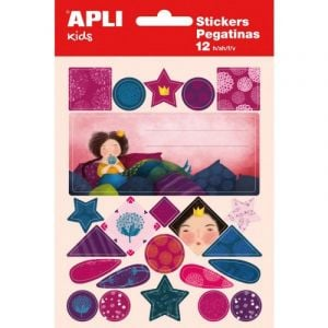 APLI Exercise book labels, pad, with stickers for girls, 12 + 1 sheets, assorted colours