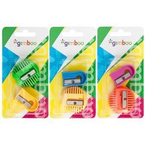 "Pencil sharpener, GIMBOO ""U"" & ""O"", 2 pcs, blister, assorted colours"