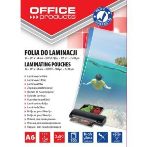 Laminating film, OFFICE PRODUCTS, A6, 2x80micr, glossy, 100pcs, transparent