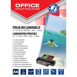 Laminating film, OFFICE PRODUCTS, A6, 2x100micr, glossy, 100pcs, transparent