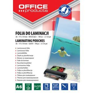 Laminating film, OFFICE PRODUCTS, A6, 2x125micr, glossy, 100pcs, transparent