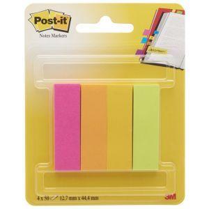 Znaczniki POST-IT® (670-4CA-EU), papier, 12,7x44,4mm, 4x50 kart., zawieszka, mix kolorów