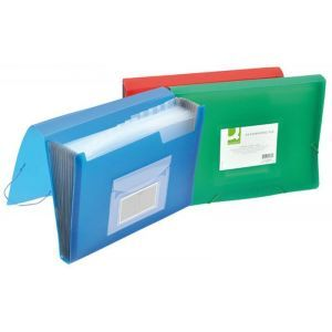 Expanding File Folders Q-CONNECT with elastic band closure , PP, A4, 6 compartments, assorted colors