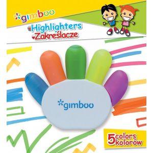 Zakreślacz GIMBOO,w kształcie rączki, blister, mix kolorów