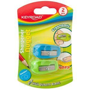 Pencil sharpener KEYROAD Nugget, plastic, sinle, 2pcs, blister pack, color mix