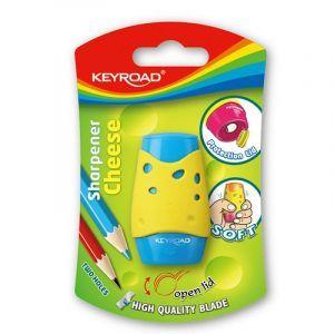 Pencil sharpener KEYROAD Soft, plastic, single, blister pack, color mix