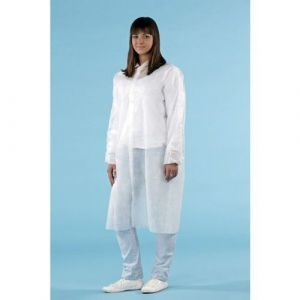 Fartuch ochronny na zatrzaski z włókniny, kolor biały, 120 cm, opakowanie 10 sztuk