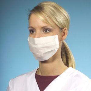 Maska higieniczna 2-warstwowa z tkaniny, 19,5 cm x 7 cm, kolor biały, opakowanie 100 sztuk