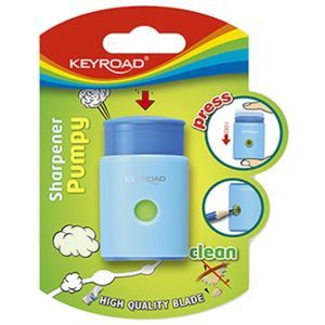 Pencil sharpener KEYROAD Pumpy-Up, plastic, single, blister pack, color mix