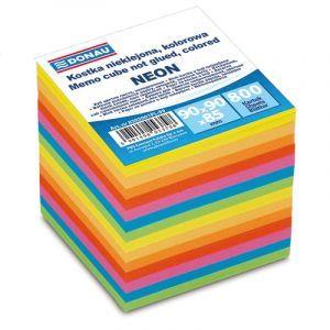 Kostka DONAU nieklejona, 90x90x90mm, ok. 800 kart., neon, mix kolorów