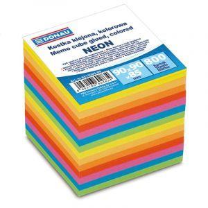Kostka DONAU klejona, 90x90x90mm, ok. 800 kart., neon, mix kolorów