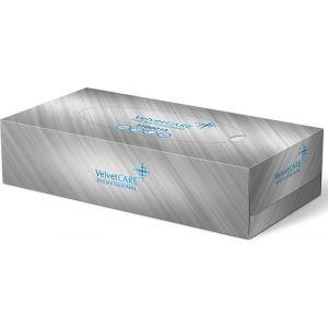 Chusteczki kosmetyczne celulozowe VELVET Professional Box, 2-warstwowe, 100 listków, biały