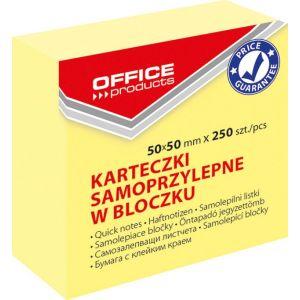 Mini kostka samoprzylepna OFFICE PRODUCTS, 50x50mm, 1x250 kart., pastel, jasnożółta