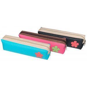 Rectangular Pencil Case, flower design, assorted colors