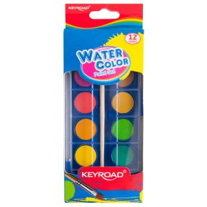Watercolor paint KEYROAD, hanger, with brush, 12 colors
