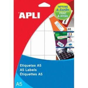 Etykiety uniwersalne APLI, 49x100mm, zaokrąglone, białe 17 ark.