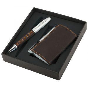 Zestaw długopis+wizytownik Krezon, brązowy