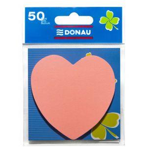 Bloczek samoprzylepny DONAU, 1x50 kart., serduszko, zawieszka, jasnoróżowy