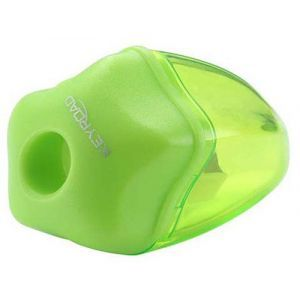 Pencil sharpener KEYROAD Star, plastic, single, with container, display packing, color mix