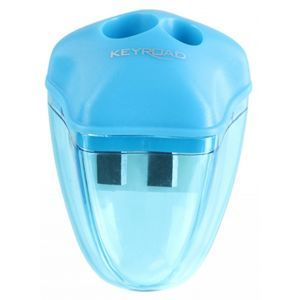 Pencil sharpener KEYROAD Star, plastic, double, with container, display packing, color mix