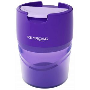 Pencil sharpener KEYROAD Robby, aluminium, double, with container, display packing, color mix