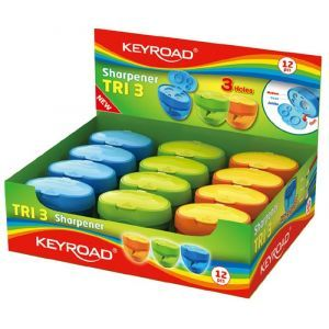 Pencil sharpener KEYROAD Tri 3, plastic, triple, with container, display packing, color mix