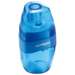 Pencil sharpener KEYROAD Easy Go, plastic, single, with container, display packing, color mix