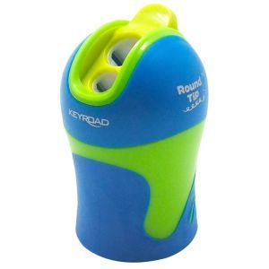 Pencil sharpener KEYROAD Color Mate, plastic, double, with container, rounded sharpening, display packing, color mix