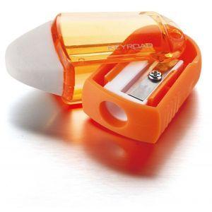 Pencil sharpener KEYROAD Twist, plastic, single, with eraser, display packing, color mix