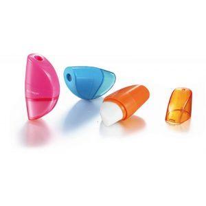 Pencil sharpener KEYROAD Orange, plastic, single, with eraser, display packing, color mix