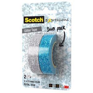 Taśma brokatowa SCOTCH® Expressions (C514-2PACK2), 15mm, 5m, zawieszka, 2 szt., srebrna/niebieska