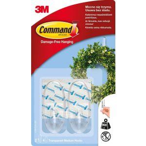 Haki wielokrotnego użytku COMMAND™ (17091CLR PL), średnie, 2 szt., transparentne